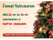 Ünnepi Nyitvatartás 2015. december